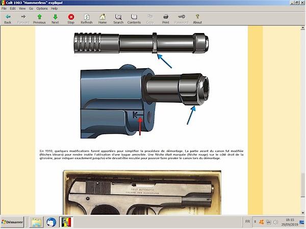 Colt 1903 hammerless expliqué expliquée