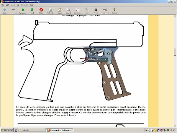 Conversion full-auto pour pistolet Browning
